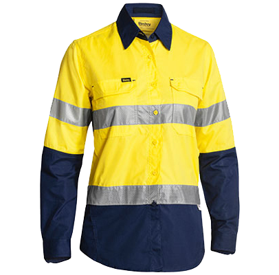 A ladies high vis shirt available in store or online at the workers shop